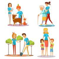 Vrijwilligers helpen Flat Cartoon Collection vector