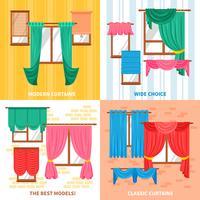 Curtains For Windows 2x2 Design Concept vector