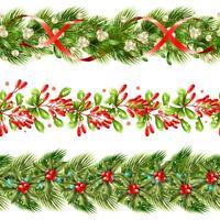 Kerst Berry grens naadloze patroon ingesteld