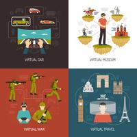 Virtual Reality Games 2x2 Design Concept vector