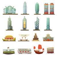Hong Kong Landmarks Transport Icons Set