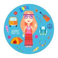 hippie karakter accessoires vlakke ronde illustratie