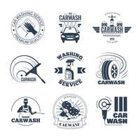 Autowassen zwarte emblemen Icons Set vector