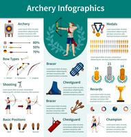 Boogschieten Flat Infographics vector