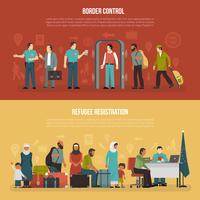 Immigratie horizontale banners vector