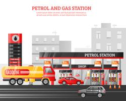 Gas en benzinestation illustratie