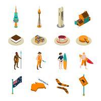 Australische toeristen attractie Isometrische Icons Set vector