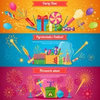 pyrotechniek festival platte banners vector