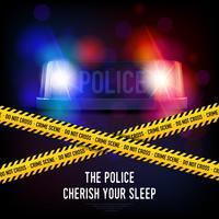 Politie misdaad tape en sirene vector