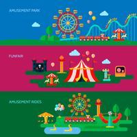 Pretpark Banners Set vector