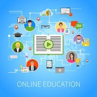 Online-onderwijs Flat Infographic webpagina-samenstelling