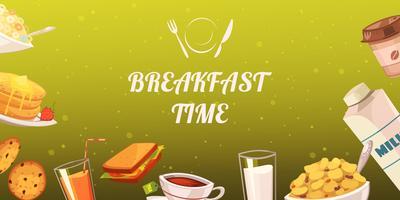 Set van snacks voor ontbijt op mosterdachtergrond vector