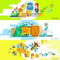 Kleurrijke Beekeping Horizontale Banners vector