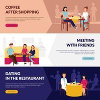 Restaurantservice voor bezoekers platte banners vector