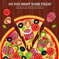 Pizza op houten plank achtergrond vector