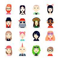 Subculturen Icons Set vector