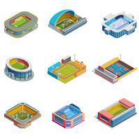 Isometrische afbeeldingen stadions ingesteld vector