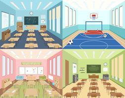 School klaslokalen en sportruimte vector
