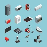 Huishoudelijke apparaten isometrische Icons Set vector