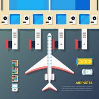 Luchthaven Schort Vliegtuig Bij Jet Bridge vector