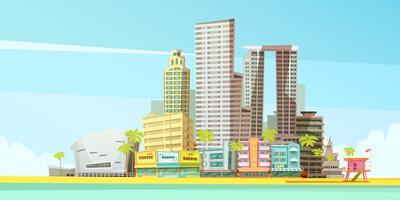 Miami skyline ontwerpconcept vector