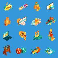 Gokken isometrische Icons Set vector