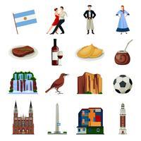 Argentinië symbolen vlakke pictogrammen collectie vector