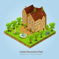 Isometrische kasteel landschap ontwerpconcept vector