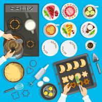 Confectioner Workplace Bovenaanzicht Set vector