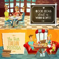 Mensen In Restaurant Horizontale Banners vector