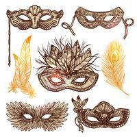 Carnival masker schets set vector