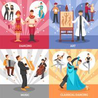 Kunstenaar mensen Concept Icons Set