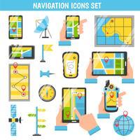 Navigatie Flat Color decoratieve pictogrammen vector