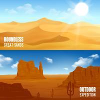 Horizontale woestijn banners vector