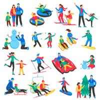 Familie Wintersport Icons Set vector