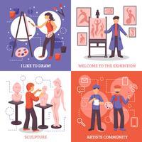 Kunstenaars Design Concept Icons Set