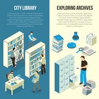 Documenten Archiefbibliotheek Isometrische verticale banners vector