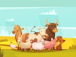 Landbouwhuisdieren In Platteland Cartoon Poster vector