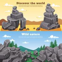 Rotsen en stenen horizontale banners vector