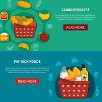 Voedsel supermarkt horizontale banners vector
