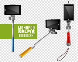Monopod Selfie transparante set vector