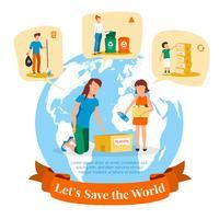 Afval verzamelen Sorteren Recycling Platte poster vector