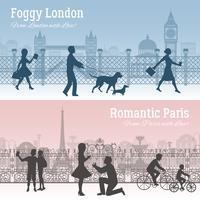 Londen en Parijs banners instellen vector