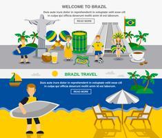Braziliaanse cultuur 2 platte banners samenstelling vector