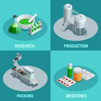 isometrische 2x2 composities farmaceutische productie vector