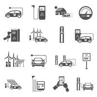 Elektrische auto opladen zwarte pictogrammen instellen vector