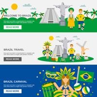 Braziliaanse cultuur 3 platte Banners Set vector