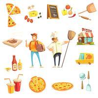 Pizza maken decoratieve pictogrammen instellen vector
