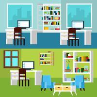 Kantoor interieur composities banners vector