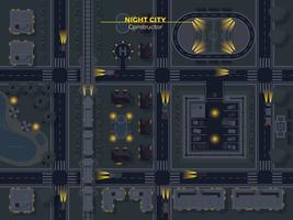 nacht stad bovenaanzicht vector